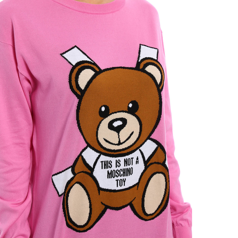 Load image into Gallery viewer, Moschino Couture Women's Cotton Crew Neck Bear Sweater Dress Pink