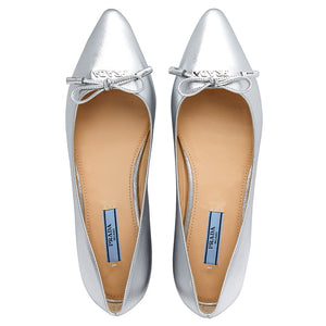 Load image into Gallery viewer, Prada Women's Saffiano Leather Ballet Flats Shoes Silver