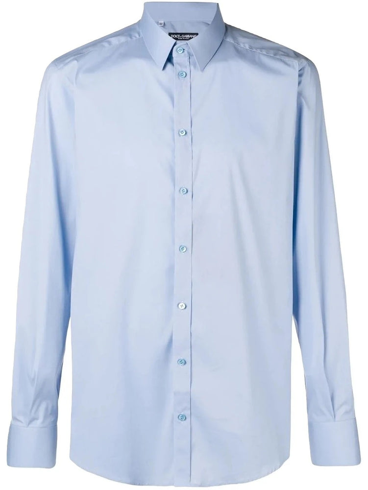Load image into Gallery viewer, DOLCE & GABBANA Men's Johnny Poplin Dress Shirt Blue