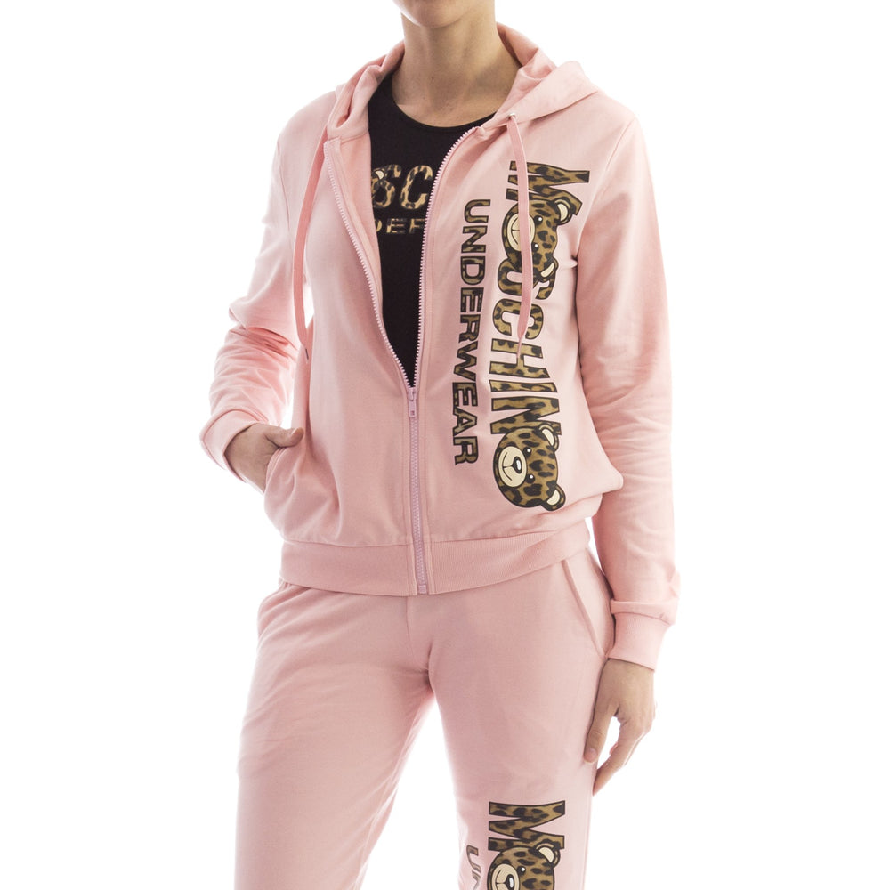 Load image into Gallery viewer, Moschino Leopard Teddy Bear Hoodie Logo Sweatshirt Pink