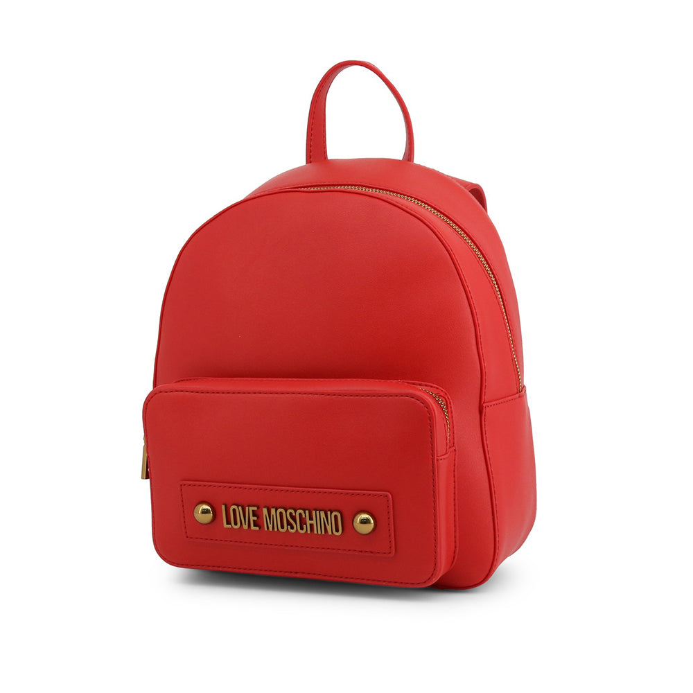 Load image into Gallery viewer, Love Moschino Faux Leather Metallic Logo Backpack Red