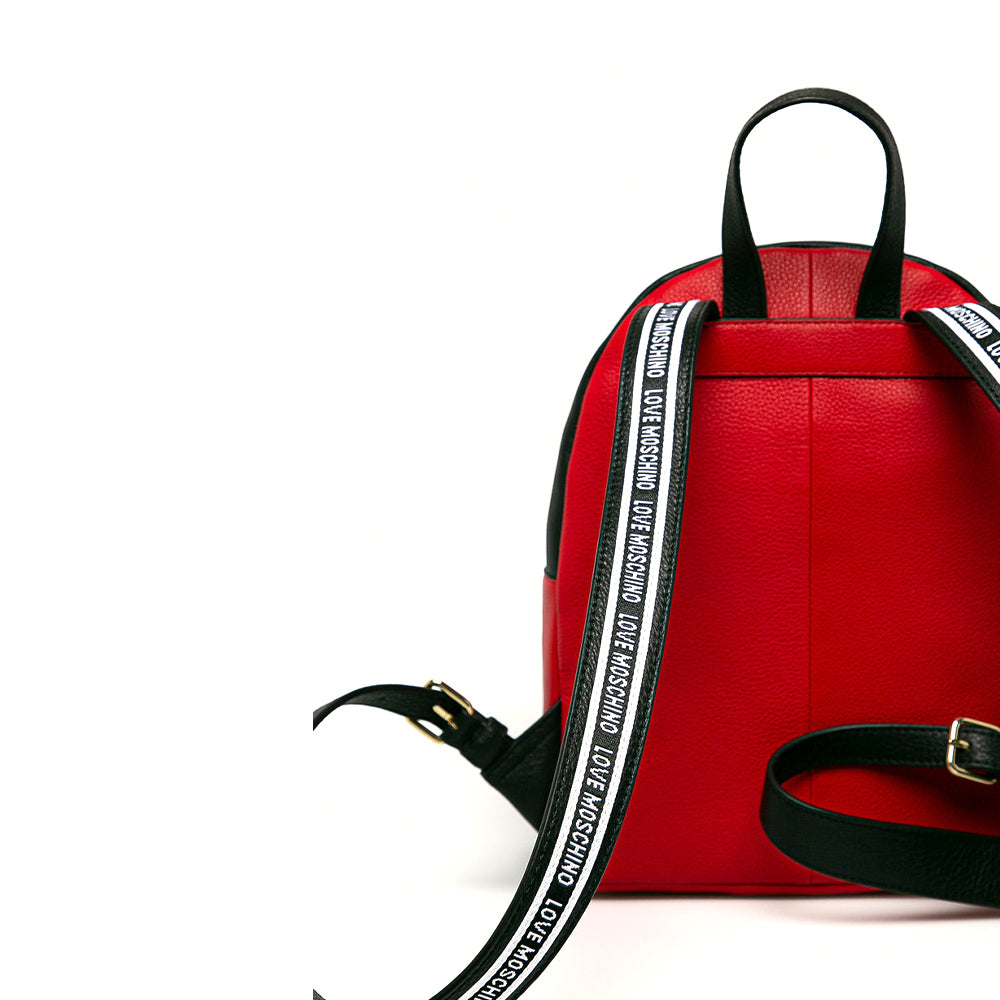 Load image into Gallery viewer, Love Moschino Pebble Leather Logo Backpack Red