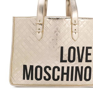 Load image into Gallery viewer, Love Moschino Quilted Logo Print Tote Handbag Gold