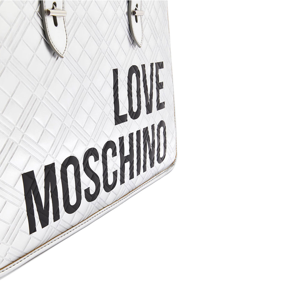 Load image into Gallery viewer, Love Moschino Quilted Logo Print Tote Handbag Silver