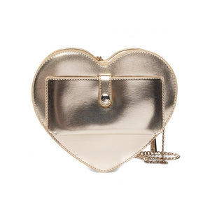 Load image into Gallery viewer, Love Moschino Medium Faux Leather Heart Handbag Metallic Gold
