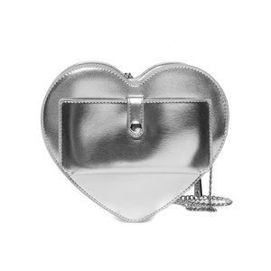 Load image into Gallery viewer, Love Moschino Medium Faux Leather Heart Handbag Metallic Silver