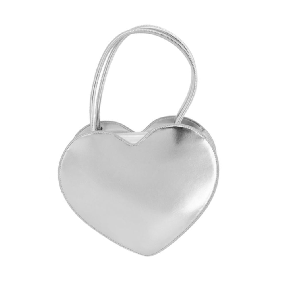 Load image into Gallery viewer, Love Moschino Large Faux Leather Heart Handbag Metallic Silver