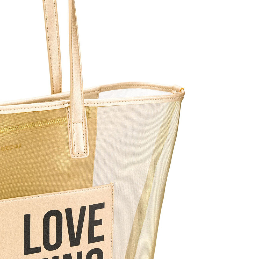 Load image into Gallery viewer, Love Moschino Transparent Mesh Logo Tote Handbag Gold