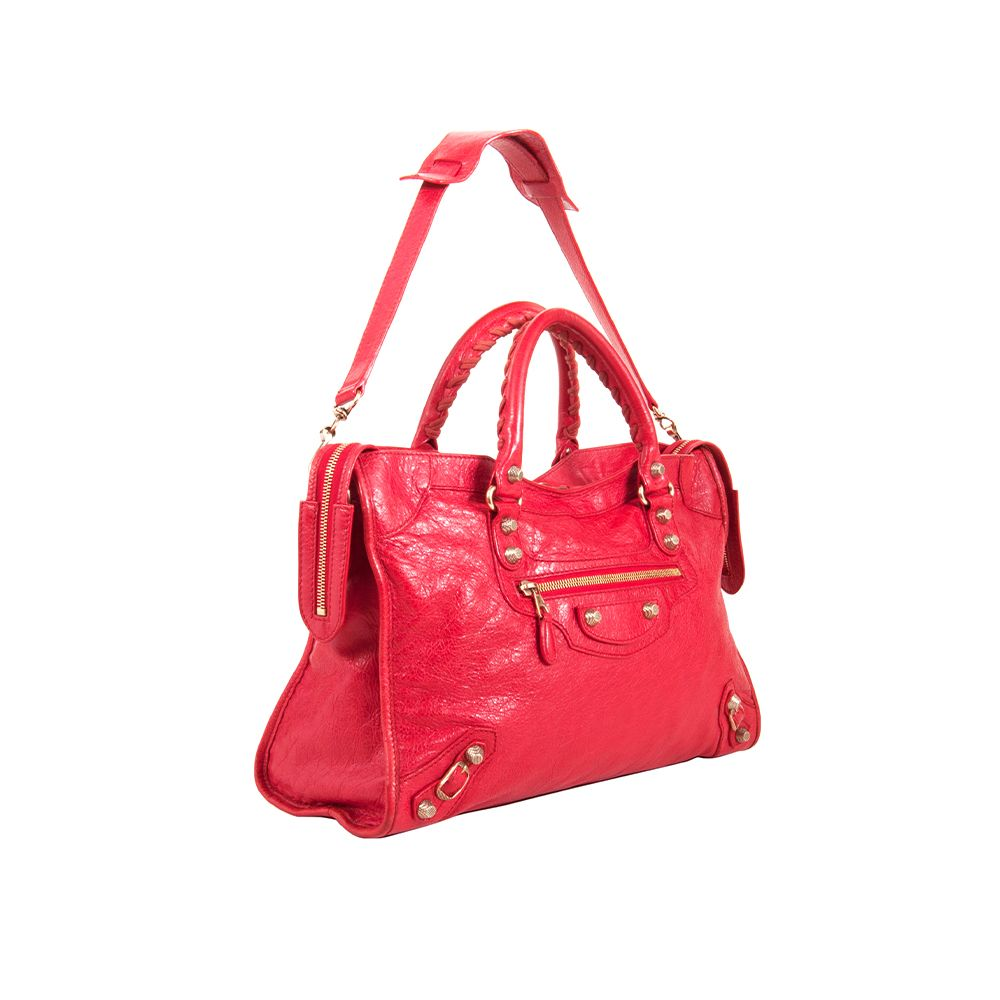 Load image into Gallery viewer, Balenciaga Classic City Small Arena Satchel Bag Red/Gold