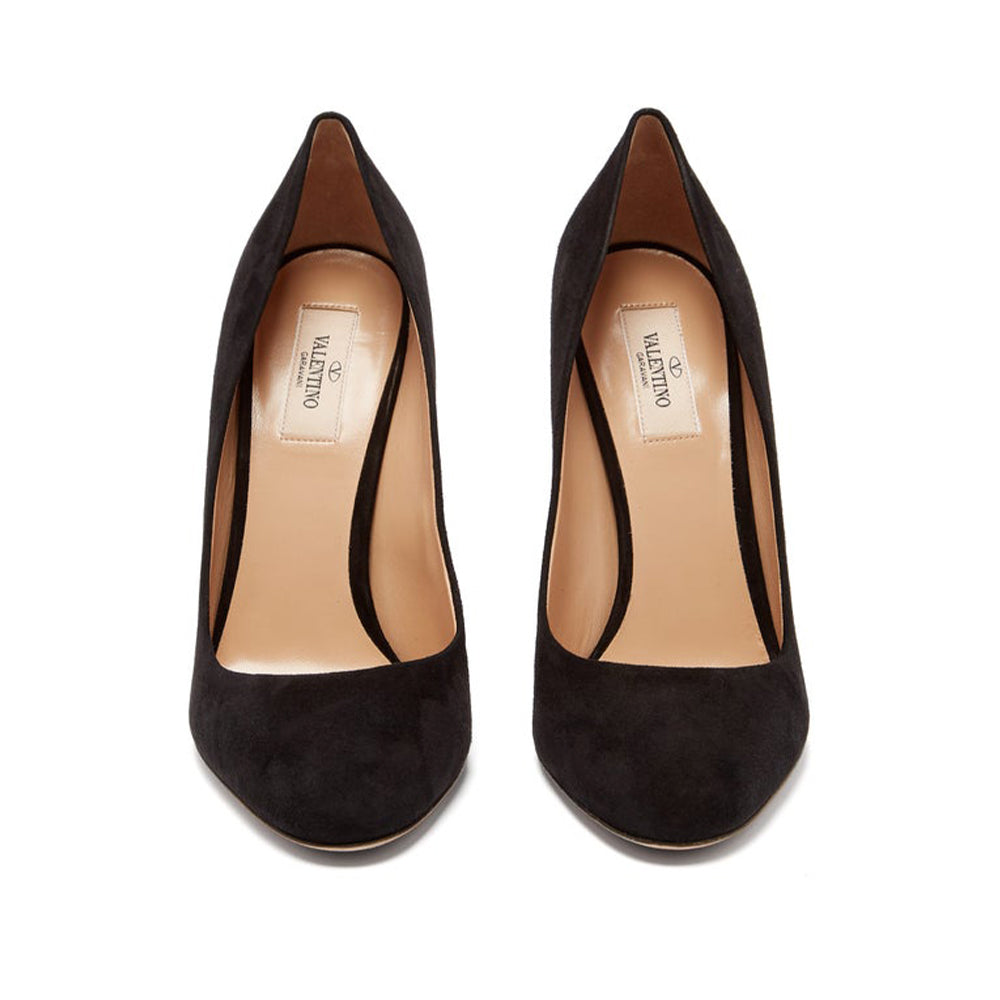 Load image into Gallery viewer, Valentino Women's Rockstud Embellished Suede Pumps Shoes Black