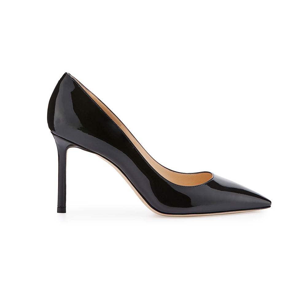 Load image into Gallery viewer, Jimmy Choo Romy Patent Leather Pointed-Toe 85mm Pump Black