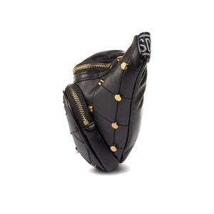 Load image into Gallery viewer, Love Moschino Faux Leather Quilted Studded Waist Bag Black