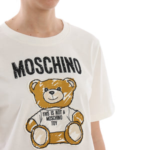Load image into Gallery viewer, Moschino Couture Women's Teddy bear Patch Crop T-Shirt White