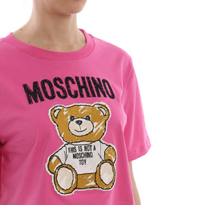 Load image into Gallery viewer, Moschino Couture Women's Teddy bear Patch Crop T-Shirt Pink