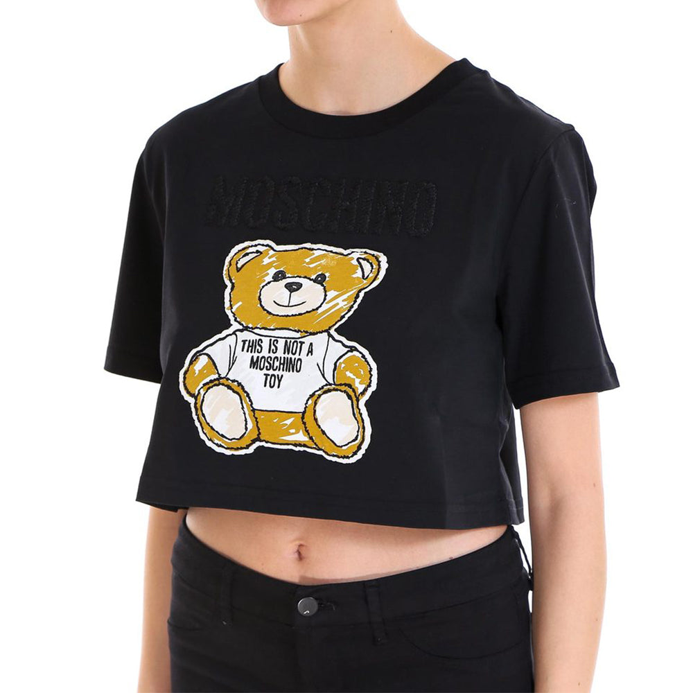 Load image into Gallery viewer, Moschino Couture Women's Teddy bear Patch Crop T-Shirt Black
