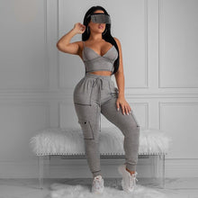 Load image into Gallery viewer, TWO PIECE SET Bra Crop Top Elastic Long Pants Jumpsuit