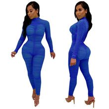 Load image into Gallery viewer, Ruched Mesh Sheer Bodycon Jumpsuit