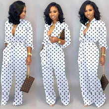 Load image into Gallery viewer, Women Polka Dot Button Up Self Belted Pockets Loose Romper Jumpsuit