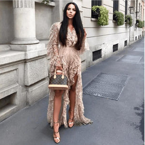 Sexy Deep V Neck Lace Ruffle Long Sleeve High Split See Through Jumpsuit