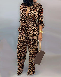 Leopard Print Long Sleeve Loose V Neck Long Overall Jumpsuit