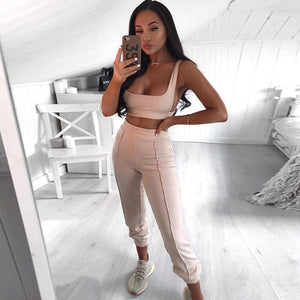 TWO PIECE SET Crop Top High Waisted Jogger Pants Tracksuit