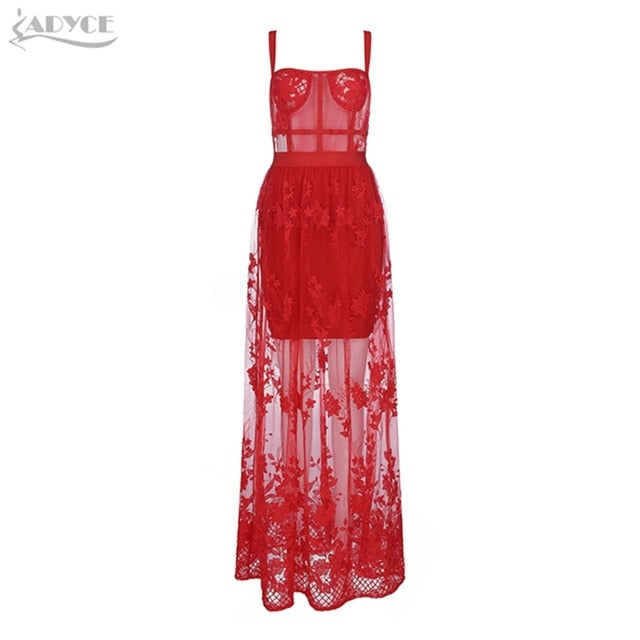 Women Red Lace Spaghetti Strap Maxi Dress
