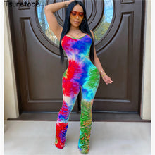 Load image into Gallery viewer, Tie Dye Print Stacked Pants Spaghetti Strap Jumpsuit