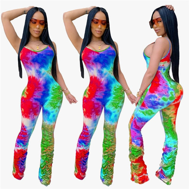 Tie Dye Print Stacked Pants Spaghetti Strap Jumpsuit