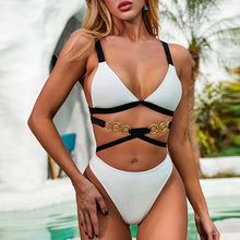 Load image into Gallery viewer, Ribbed Metal Chain High Waist Bikini swimsuit