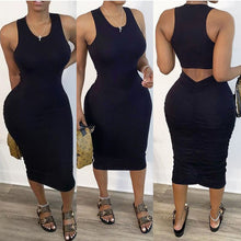 Load image into Gallery viewer, Sexy Black Sleeveless hollow back pleated bodycon dress