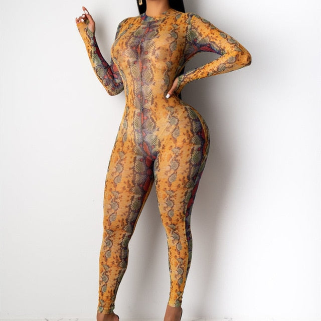 Snake Skin Print Long Sleeve Mesh High Neck Sexy  Jumpsuit