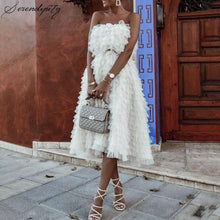 Load image into Gallery viewer, Off the Shoulder White Cake Ruffle Dress