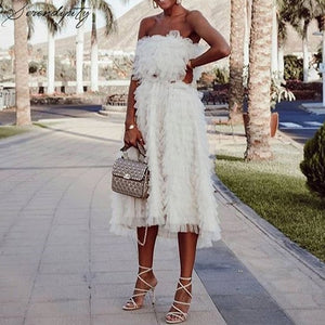 Off the Shoulder White Cake Ruffle Dress