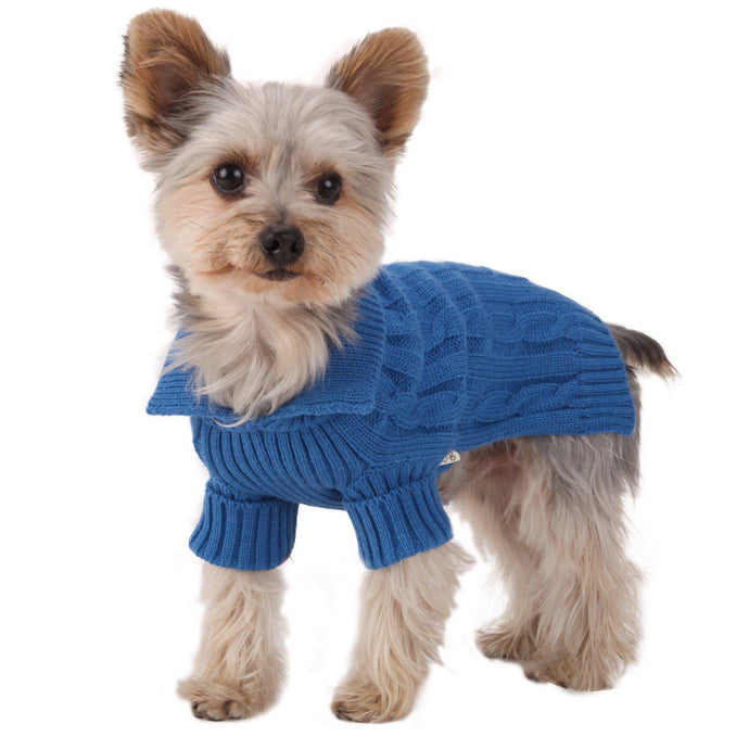 Royal Blue Aran Dog Sweater