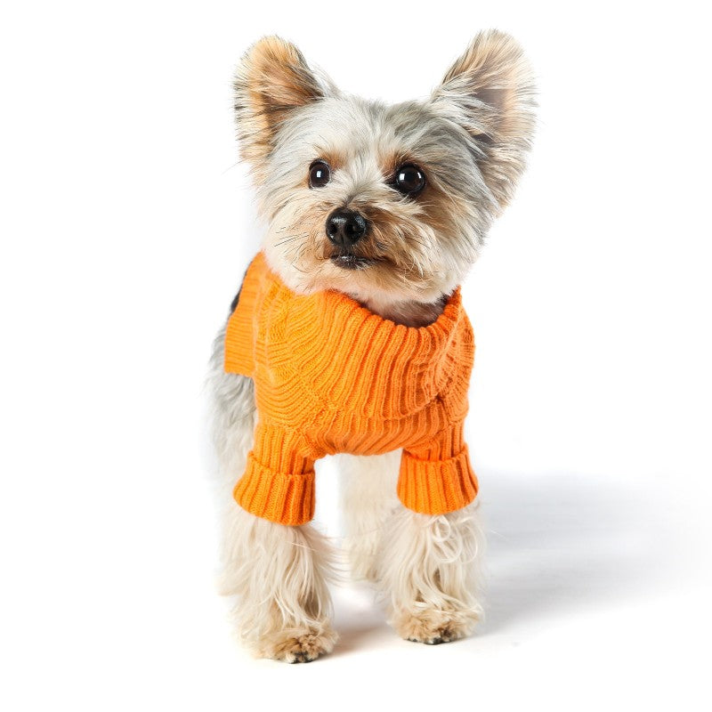 Tangerine Turtleneck Dog Sweater