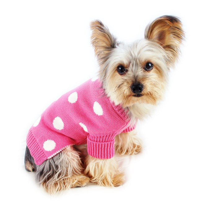 French Pink Polka Dot Dog Sweater Rolled Neckline