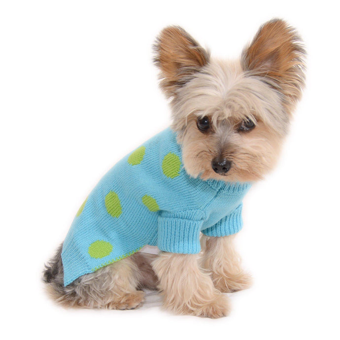 Aqua Blue Polka Dot Dog Sweater Rolled Neckline