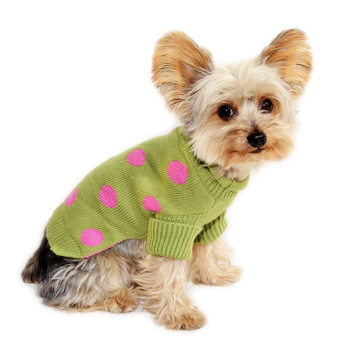 Lime Green Polka Dot Dog Sweater Rolled Neckline