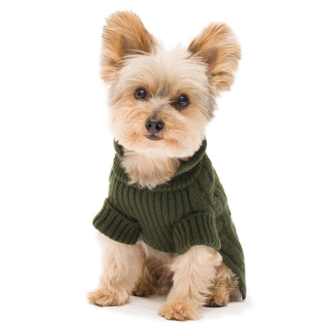 Olive Green Aran Dog Sweater