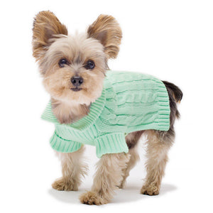 Mint Aran Dog Sweater