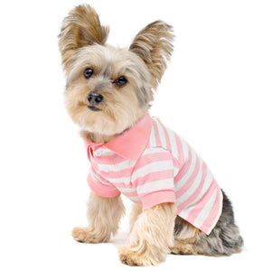 Pink Stripe Dog Polo Shirt