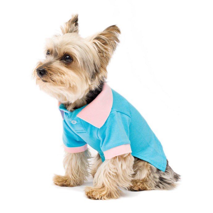 Contrast Collar Dog Stretch Polo Shirt Cotton Candy Blue
