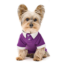 Load image into Gallery viewer, Contrast Collar Dog Stretch Polo Shirt Violet