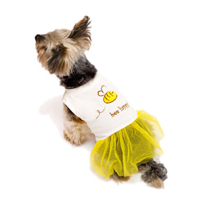 bee happy Dog T-shirt Dress