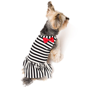 Black & White Stripes Dog Dress with Red Bow