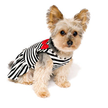 Load image into Gallery viewer, Black & White Stripes Dog Dress with Red Bow