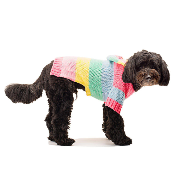 Rainbow Stripes Hoodie Dog Sweater