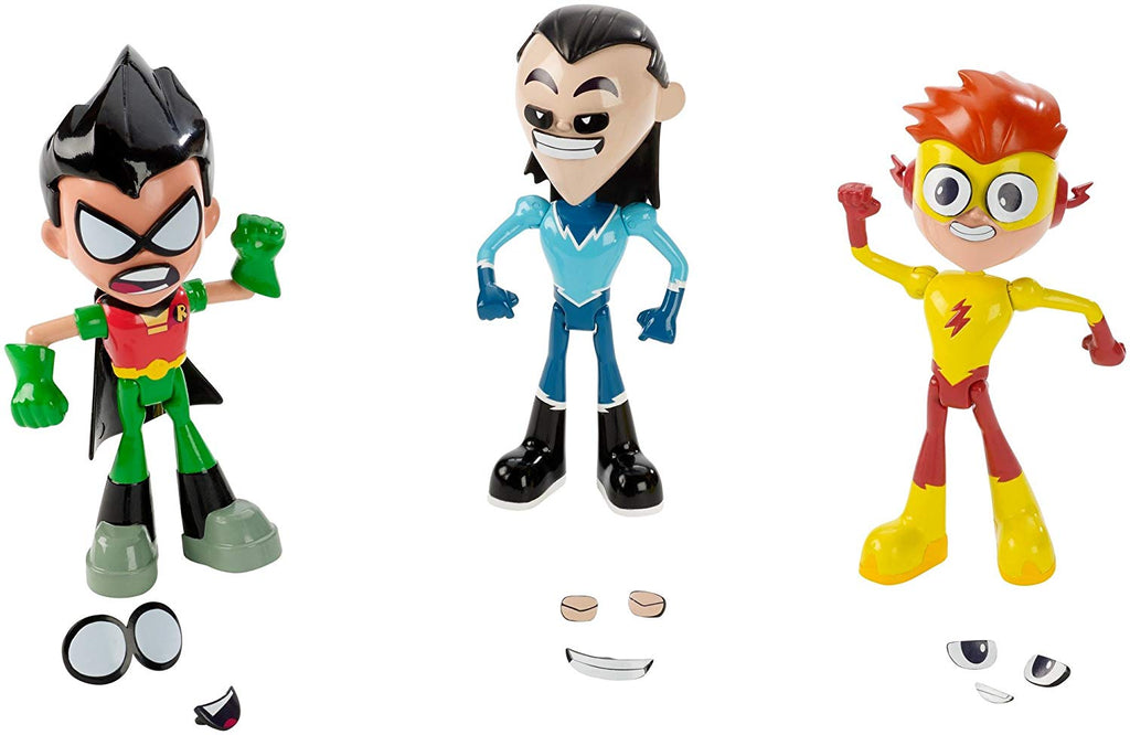 Dc Teen Titans Go Face Swappers Robin, Kid Flash Y Aqualad 6 pulgadas