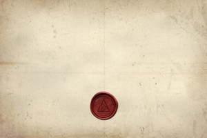 parchment and red stamp to advertise The Order, Not An Escape Room's mystery secret society themed online experience, for friends and family, over Zoom