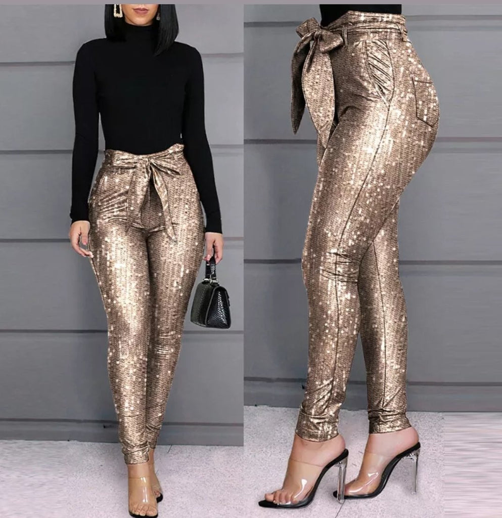 Sequin Bow Pants
